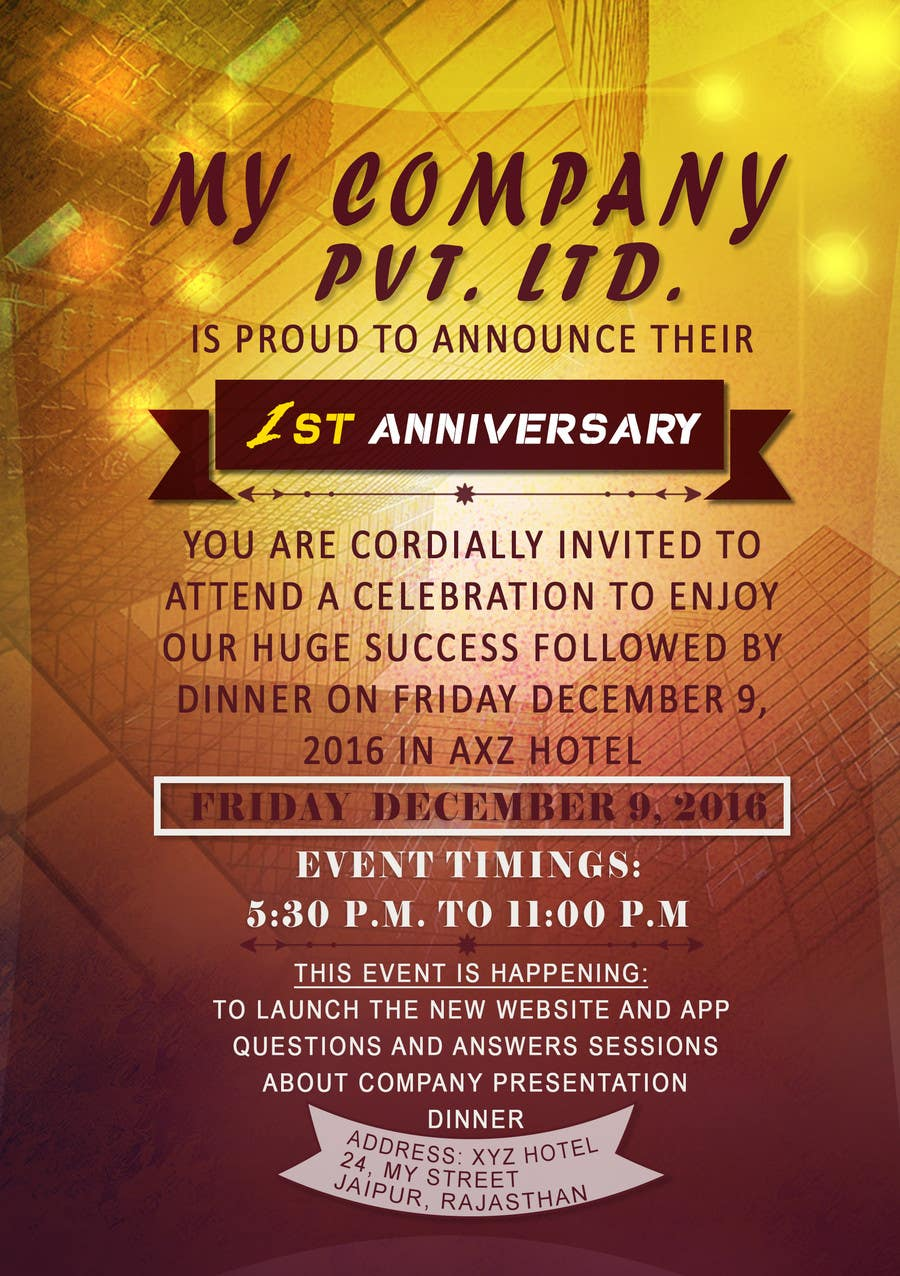 invitation card for launching event