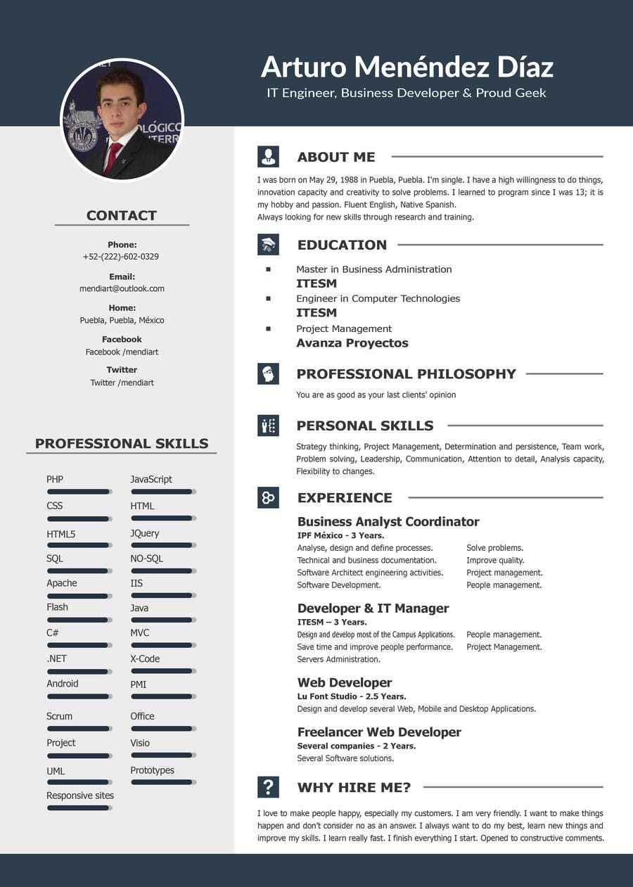 design an original and stylish cv format