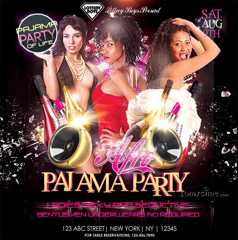 Pajama party flyer design a flyer for afro pyjama party flyer design