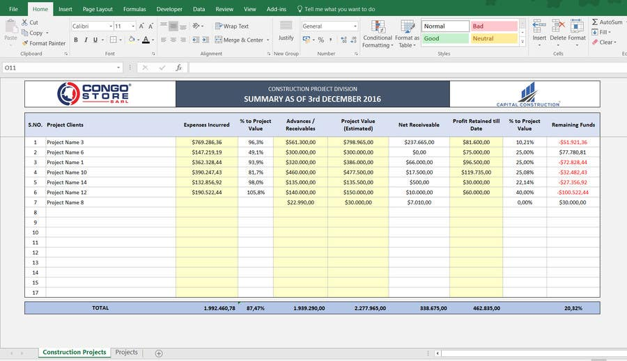 Simple Excel Templates