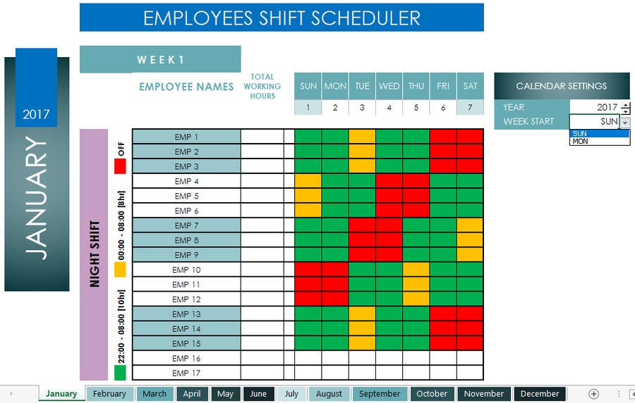 entry 19 by cziner for customized 24 7 shift scheduler using