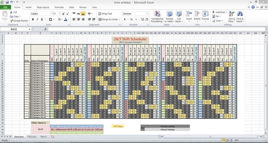 entry 17 by srjayathilaka94 for customized 24 7 shift scheduler