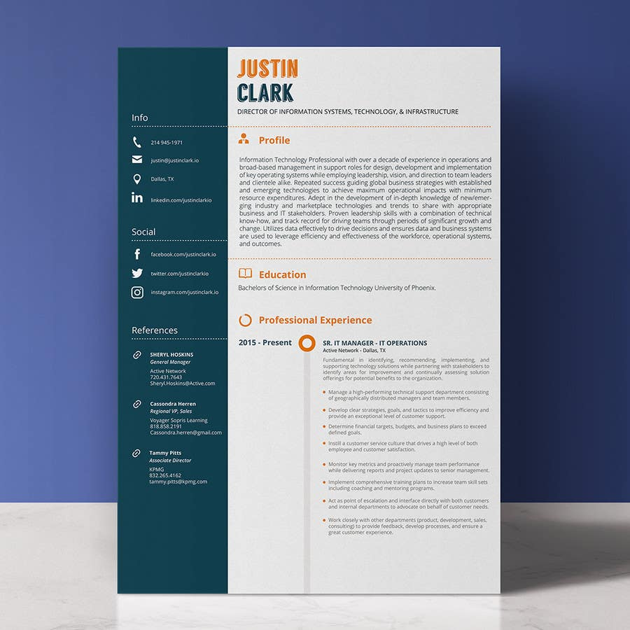 Entry 22 By Enfasiscreativo For Design A Resume Template Cover