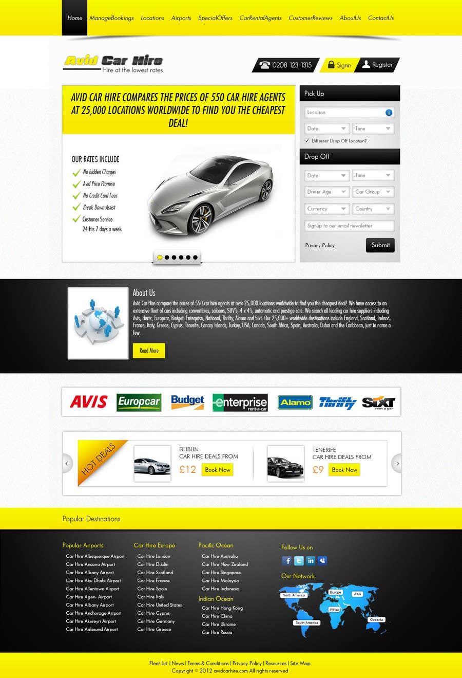 Entry 67 By Chinnapd007 For Website Design For Avid Car Hire