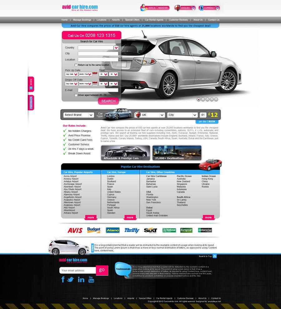Inscrição nº                                         34                                      do Concurso para                                         Website Design for Avid Car Hire