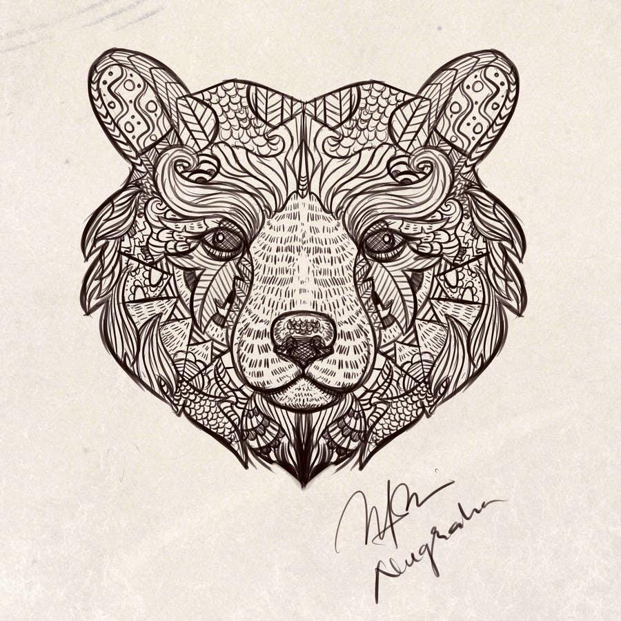 #2 para Handrawn Artistic Bear (head only) Design por nugrahanugraha