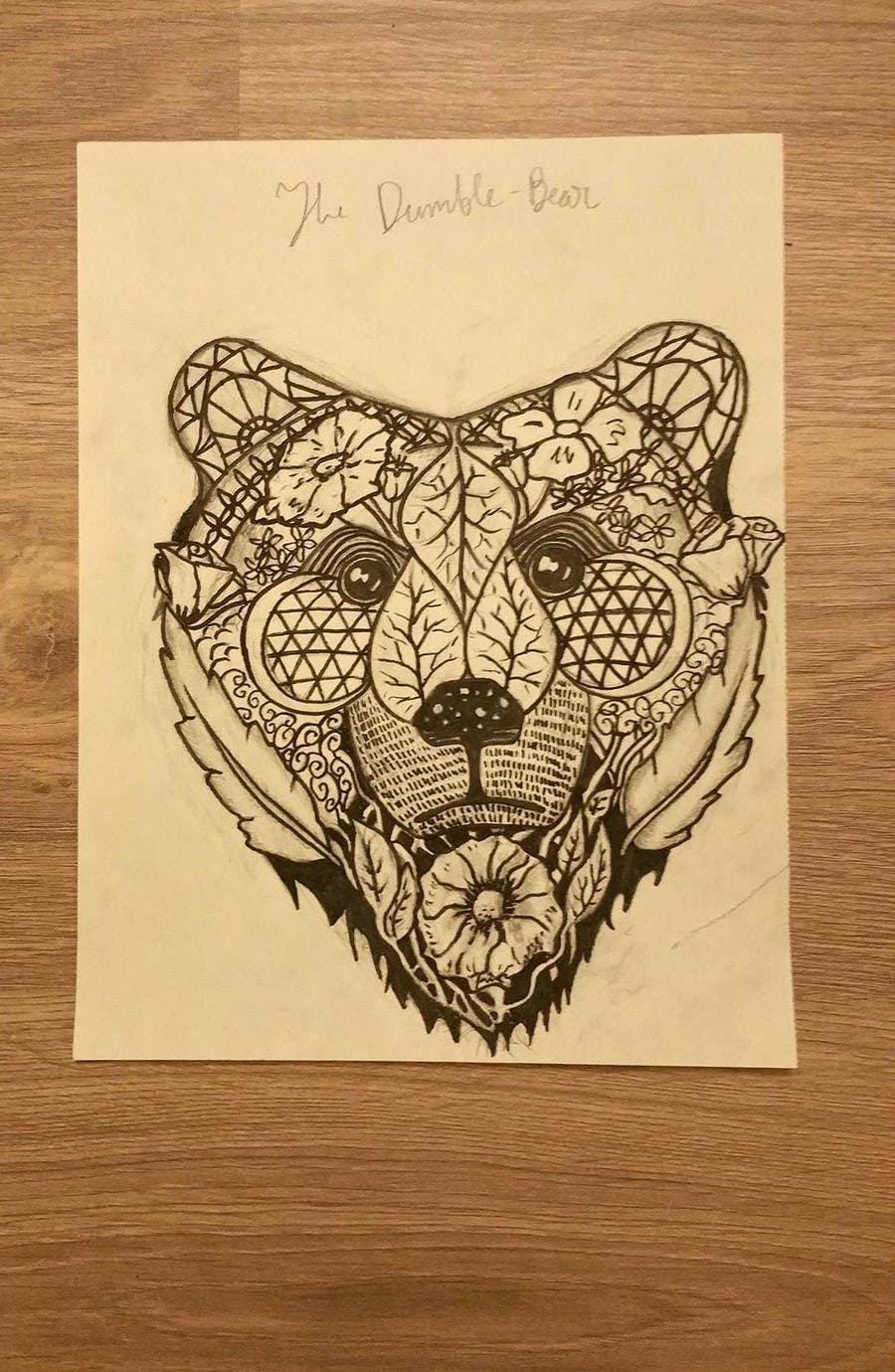 #8 para Handrawn Artistic Bear (head only) Design de Cinamora