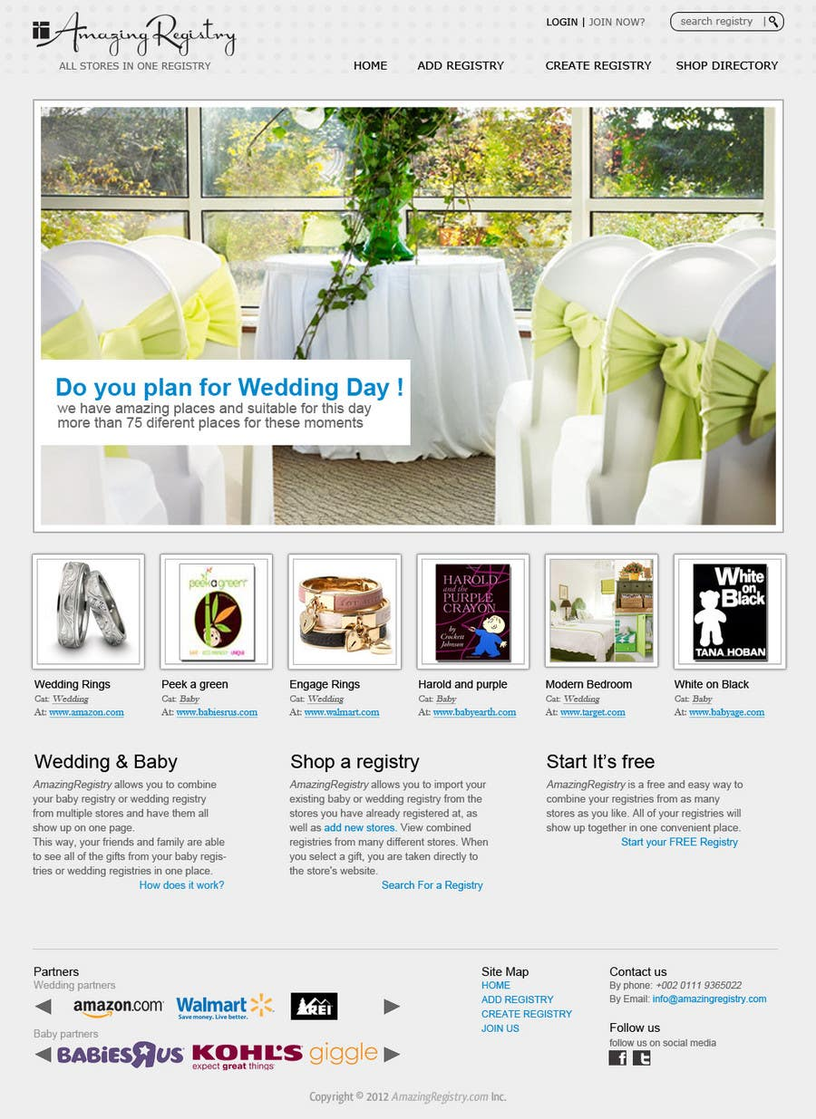 Конкурсная заявка №5 для Website Design for Amazing Registry.com, Inc.