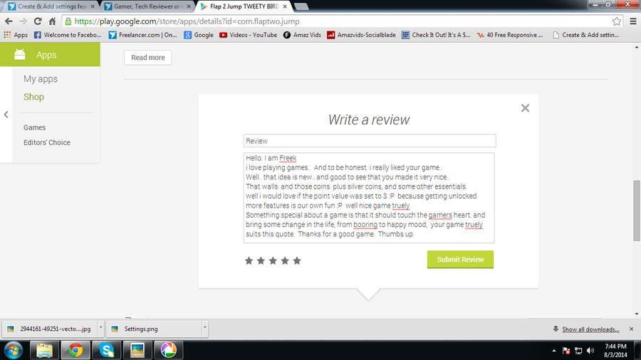 Penyertaan Peraduan #                                        1                                      untuk                                         Gamer, Tech Reviewer or Content Writing for reviewing a Android game.