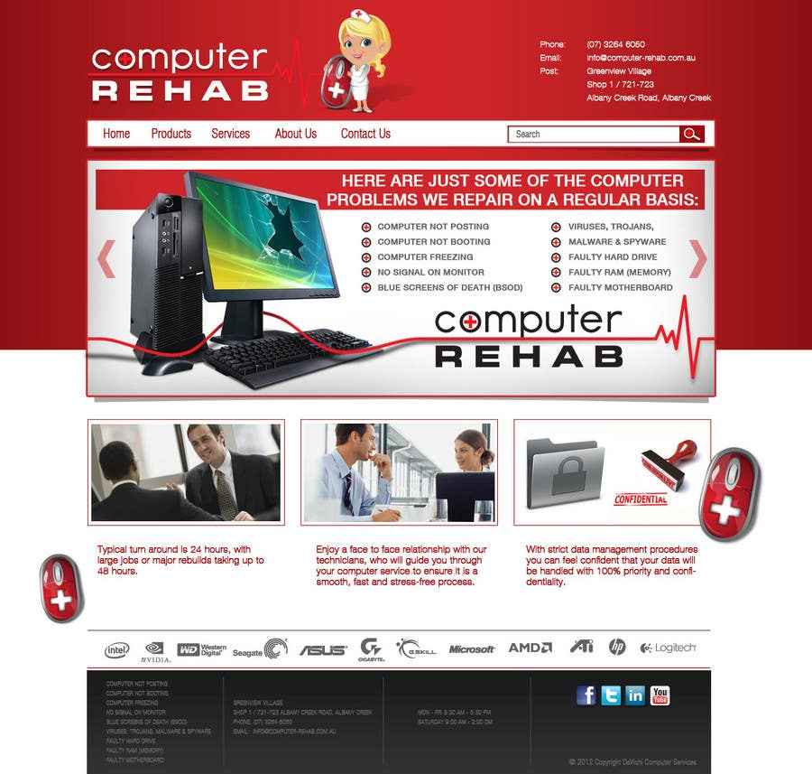 Конкурсная заявка №26 для Website Design for Computer Rehab