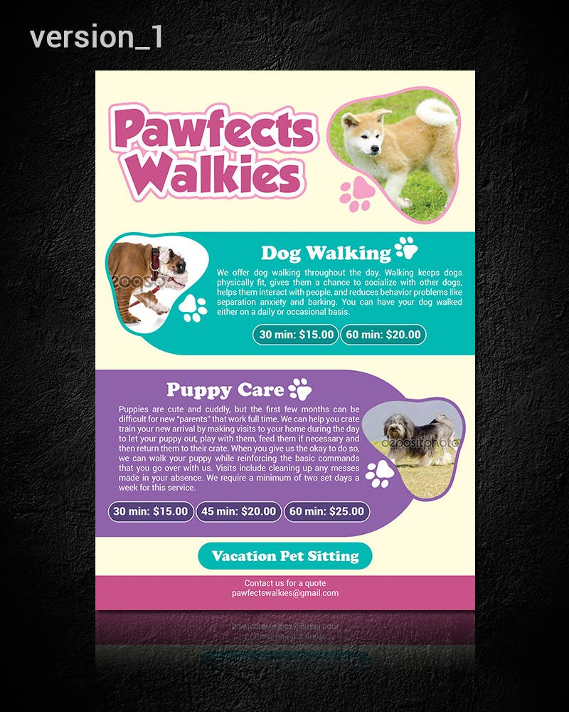 design a flyer for dog walking company lancer 12 for design a flyer for dog walking company by purppledesigns