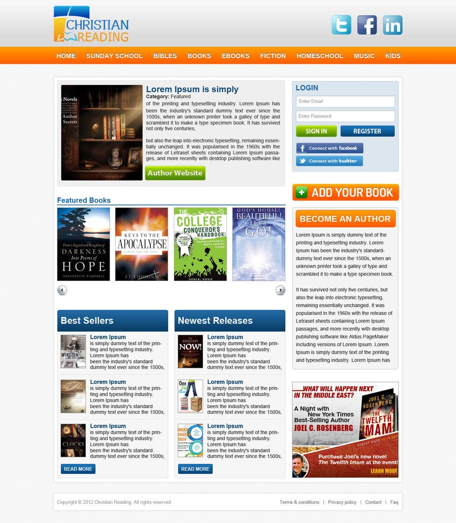 Contest Entry #                                        51                                      for                                         Christian Reading Website Home Page Design