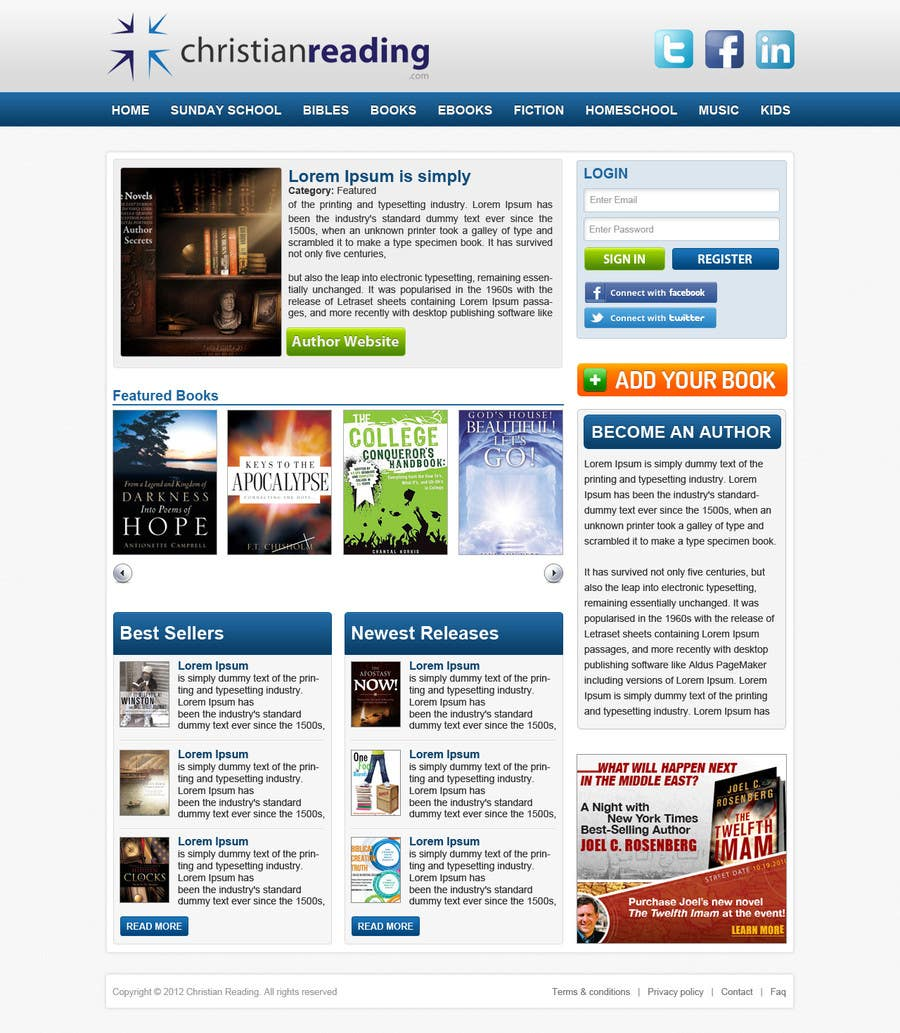 Contest Entry #                                        32                                      for                                         Christian Reading Website Home Page Design