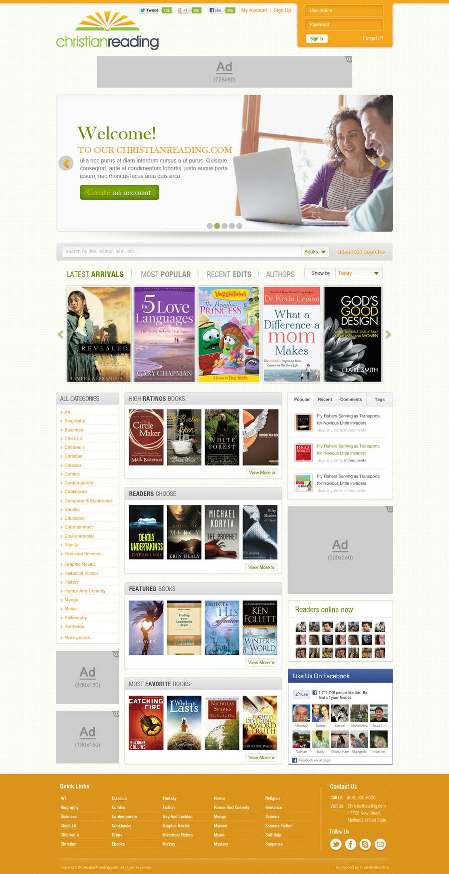 Contest Entry #                                        50                                      for                                         Christian Reading Website Home Page Design