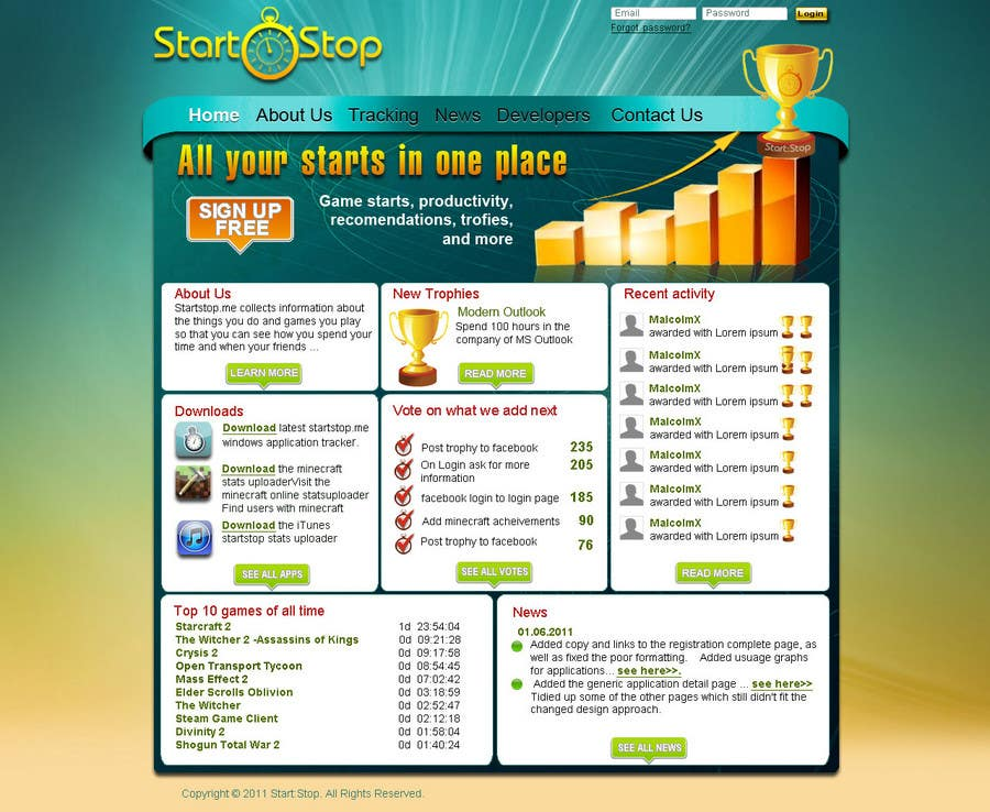 Konkurrenceindlæg #                                        28                                      for                                         Website Design for startstop.me