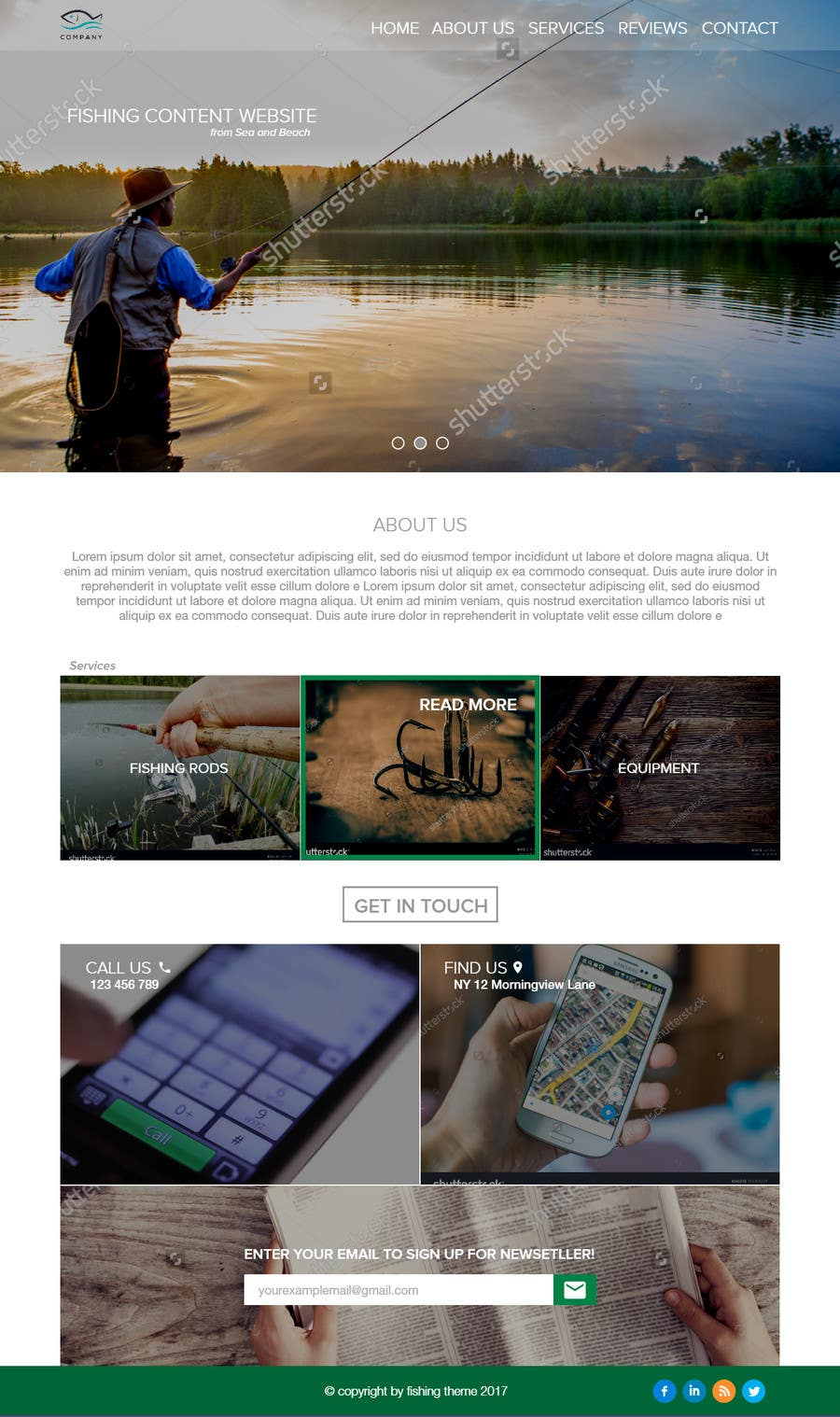 Proposition n°22 du concours Design a Website Template with a Fishing Theme