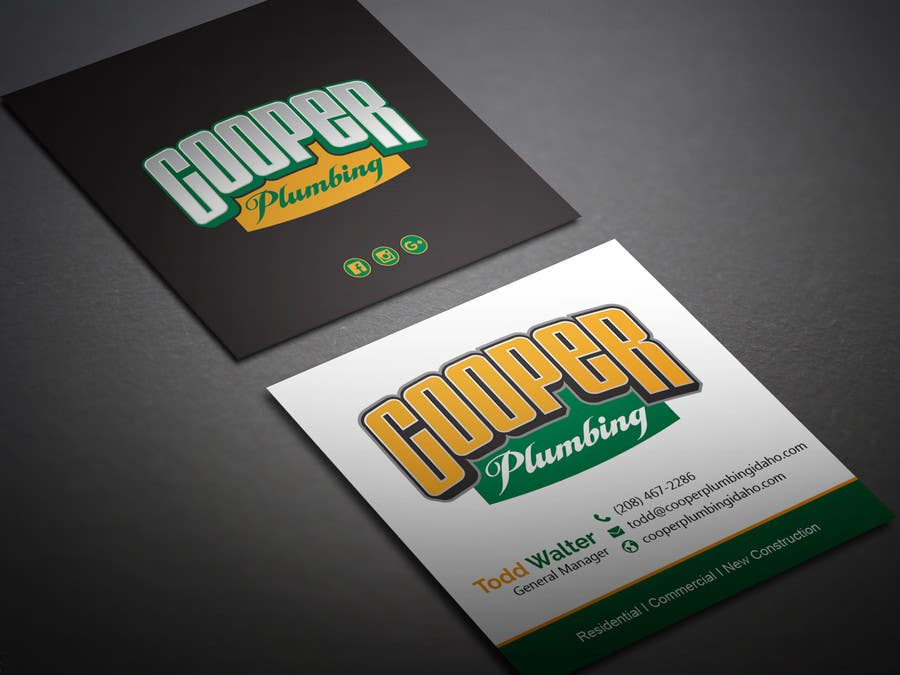 Entry 2 By Bikashbapon For Cooper Plumbing Business Cards And