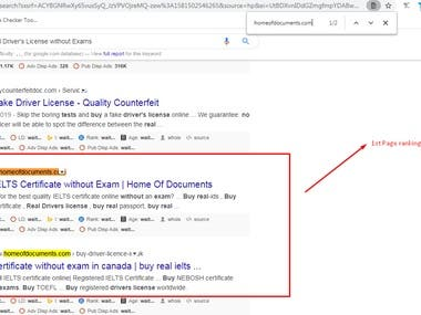 1st Page Ranking on Google.com (USA)  Keyword:- Buy Real Driver's License without Exams URL:- homeofdocuments.com
