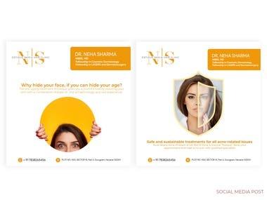 social media designs of skin clinic