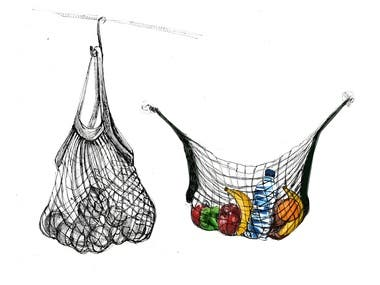 Here is my design for a net bag, hand drawn on paper.