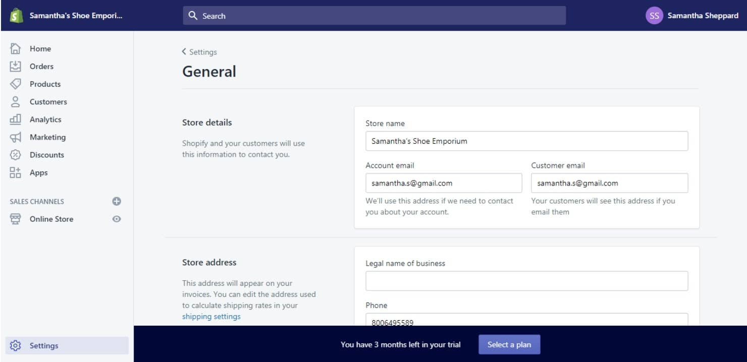 shopify general settings