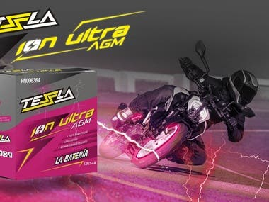 Product packaging and logo for Tessla Batteries Complete design and packaging develop