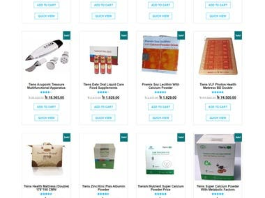 Food supplementary Selling Online Store.