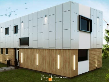 This visualisations below represent concepts that were created from sketches according to a competition brief to design a facade for a house in Slovakia. I believe all ideas start with a pen or pencil and paper or paper-like medium. The process here was no different. The final images were rendered in Vray after the design was finalised in a Sketchup model.