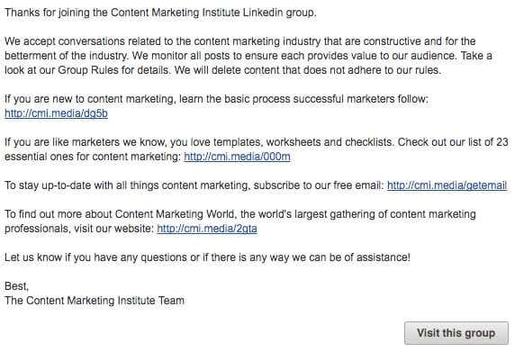 linkedin group email example
