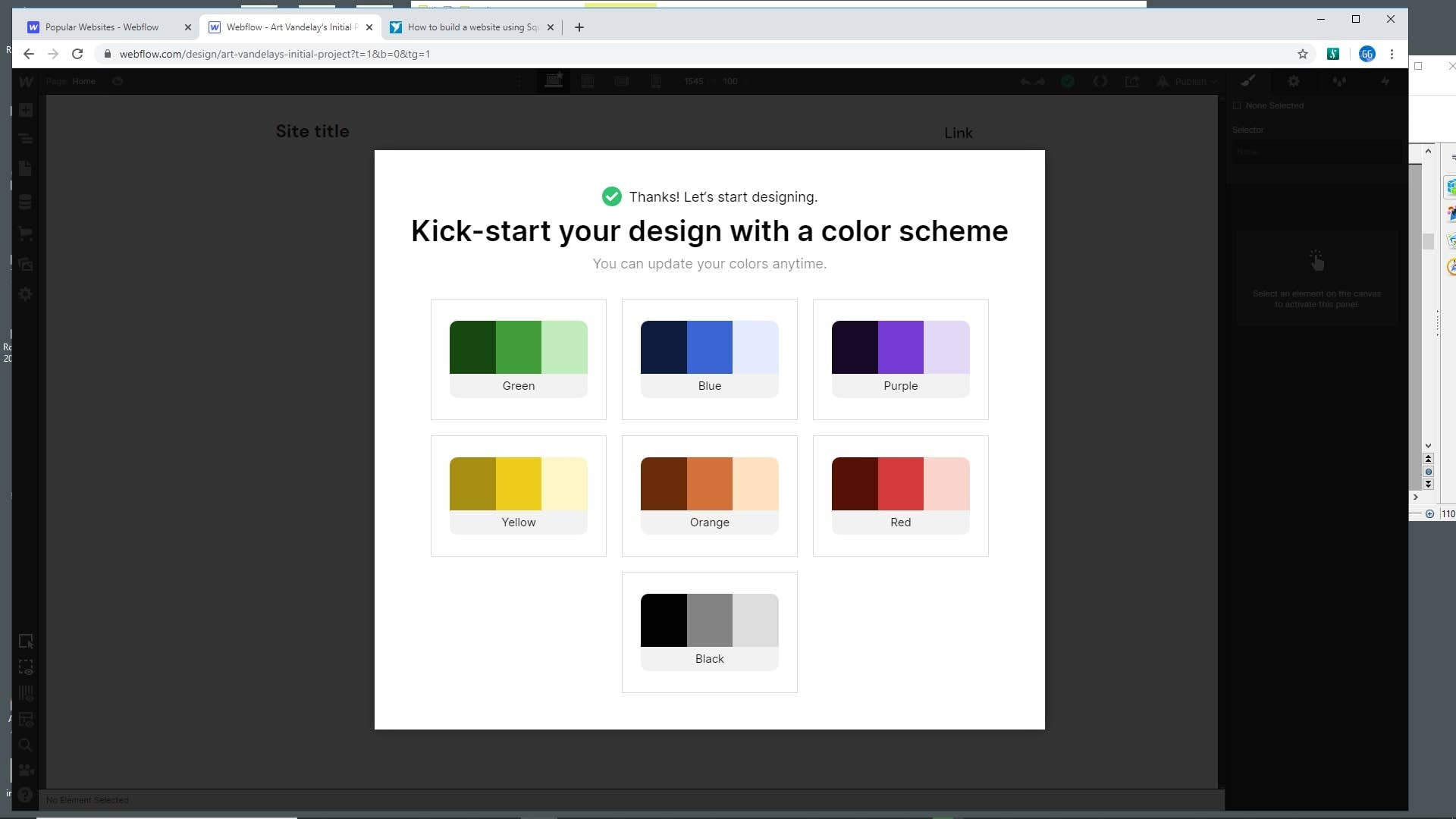 Webflow choose color scheme
