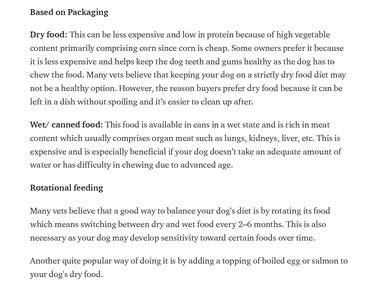 A short article on choosing the right kind of ready-made food for your pet dog.