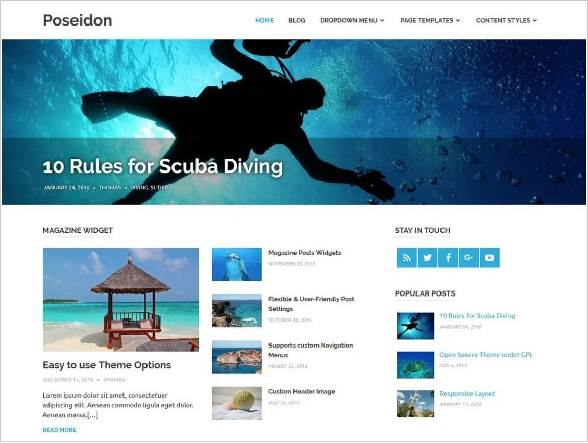 poseidon free wordpress theme