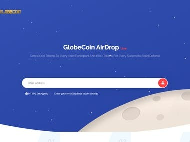 A website that can be used to claim free ERC20 Ethereum tokens.  Globecoin Airdrop. https://fcoinairdrop.com  Project link: https://www.freelancer.co.id/projects/php/need-airdrop-website/details