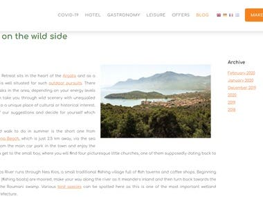 Website content for luxury hotel