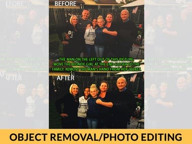 Object removal from and photo editing.