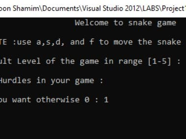 This is a fully implemented snake game just like nokia mobile phone . It has  5 modes difficulty and also a choice of hurdles in game. The score is also saved in database file using sql
