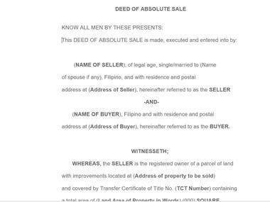 This is a deed of absolute sale consists of 4 pages which i made within 2 hours time period. A person awarded the drafting of this deed to me which i have drafted and completed within given time period. He could not find even a single mistake therein and was very satisfied with terms of the said deed.
