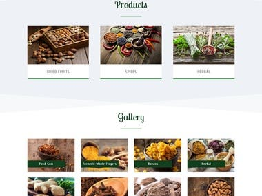 Professional, modern and natural website for a dry fruit business.