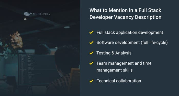 things to mention in full stack developer vacancy