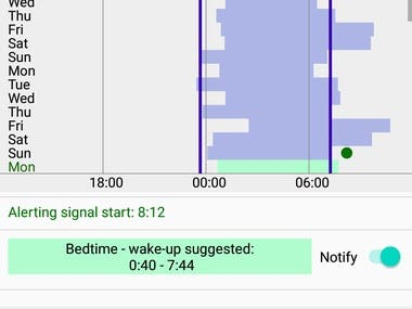 Biological clock - track sleep and sync your day.  Mobile application based on circadian rhythms theory, record and edit sleep time, calculate and analyze statistics and based on sleep science recommend bedtime - wake up.  Intuitive design, data analysis charts and recommendations text builder, Room database, custom views, Notifications, options for selection location from list and automatic identification, integrated AdMob.