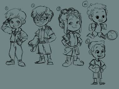 One of my Freelance orders for a Children's coloring book of a smart & adventurous boy : Ken! Here are some of the exploration sketches that I did and final pick by the client.
