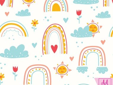 This is a rainbow pattern I created in adobe illustrator.