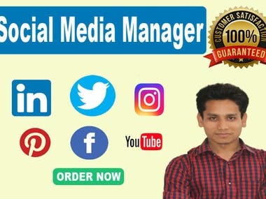 Create highly engaging social media posts that are perfect for your business, product or brand. so, I will optimize, manage and grow your social media presence! Get more traffic, leads and sales! Facebook Advertising one of the best key way to Get more sales, More leads, More traffics  What You'll Get:  Facebook Ads Campaign Setup new Ad campaign Target Audience with Demographics Eye-Catching text and description Laser targeted Ads Audience Research Verified Business Manager Ads Account Brand Awareness Campaign Website Traffic Campaign Schedule post SEO Optimized page Brand Specific Content Social Media Strategy Competitive analysis Content creation Hashtag Research Organic growth of likes and followers Schedule post Active engagement Social media management-( Facebook, Twitter, Instagram, Linkedin, Youtube, Pinterest) website content Audience research Call-To-Action items 30 Custom post per month  Thank You