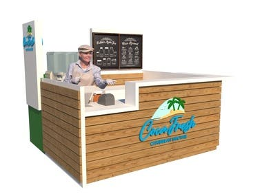 Booth in coconut caribbean beverage franchise mall
