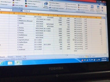 In this pic u can see an excel sheet for a online store.include all the monthly sellings,ordername,pricing and many other catagories