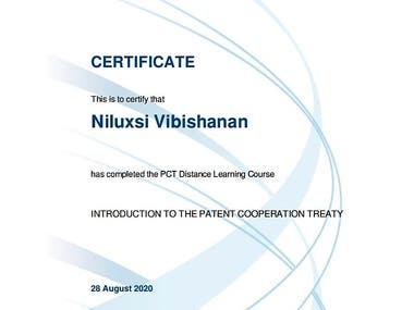 Introductory course on Patent Cooperation Treaty conducted by World Intellectual Property organization (WIPO)