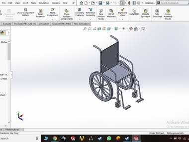 Designed the wheelchair as per client requirements