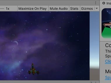 This is unity 2d Spaceship game having AI based enemies