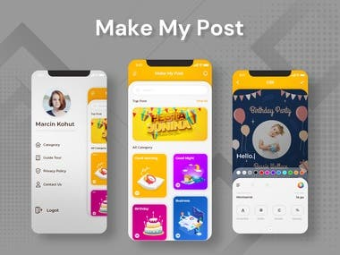 Here are some screens from the MAKE MY POST app. It doesn't matter if you are a pro-designer or someone who just wants to make a Poster with the help of more than 1000+ template user can easily make the perfect Poster for them.