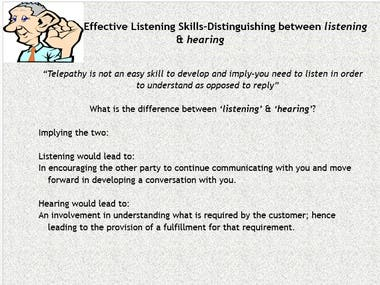 This is an extract from a sales presentation I prepared and presented to sales agents.
